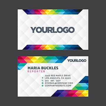 разноцветные геометрические визитки дизайн Шаблон