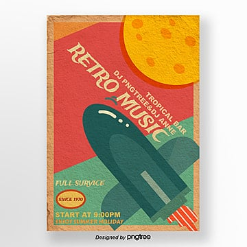 Colourful retro cosmic rocket music party posters Template