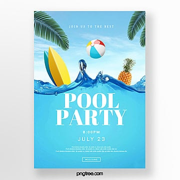 Creative posters for blue and fresh pool party, Surface Of The Water, Swimming Pool, Pool Party Poster PNG and PSD