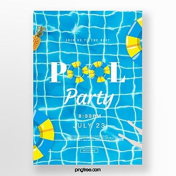 creative posters for blue and fresh pool party, Summertime, Surface Of The Water, Swimming Circle PNG and PSD