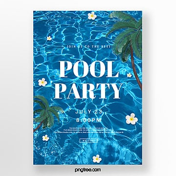 Creative posters for blue pool party, Summertime, Coconut Tree, Surface Of The Water PNG and PSD
