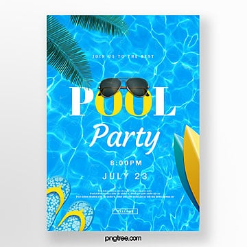 creative posters for blue pool party, Surf Board, Summertime, Summer Creative Poster PNG and PSD