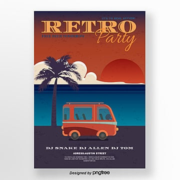 Creative posters for retro sunset tropical beach party Template