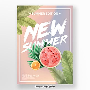 design of fashion promotion poster with gradual color change in summer Template