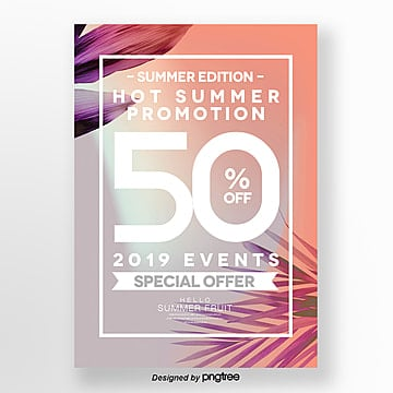 Fashion color gradient summer poster design Template