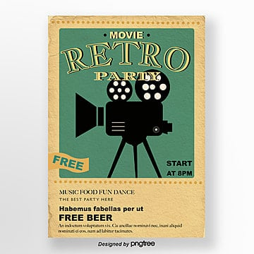 Green retro projector movie party Poster, Vintage, Yellowing, Party PNG and Vector