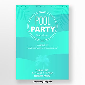 green summer tropical pool poster Template