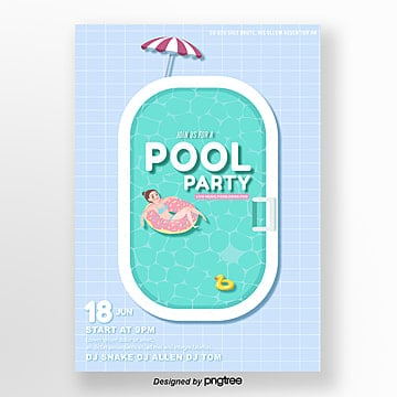 light blue plaid pool party poster Template