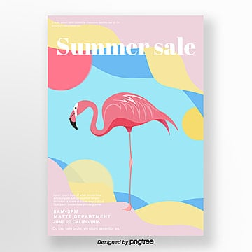 Light coloured  fresh and creative Flamingo posters Template