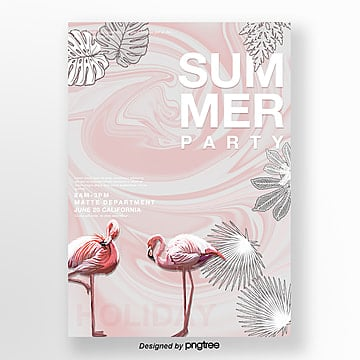 Light Fluid Flamingo Plants Poster Template