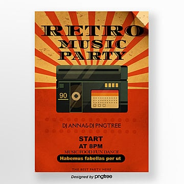 orange retro radio music party posters Template