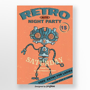 Orange Retro Robot Music Party Poster, Creative, Cartoon, Vintage PNG and Vector