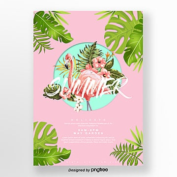 pink green fresh plants flamingo poster Template