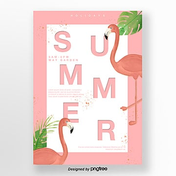 pink stereo flamingo fresh illustration poster Template