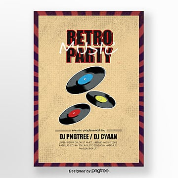 Posters for retro album concert party, Record, Vintage, Retro Style PNG and PSD