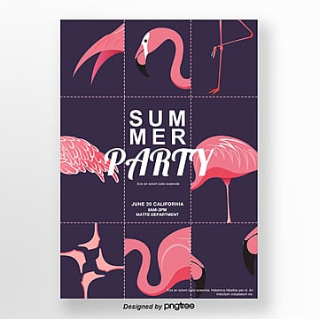 Purple Flamingo Characteristic Nine Palace Poster Template