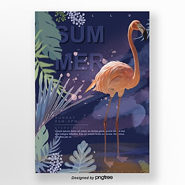 purple tropical rainforest flamingo activity poster Template