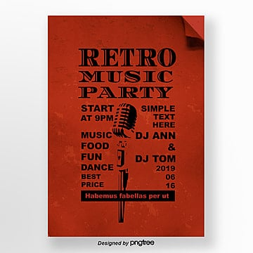 Red retro microphone music party posters Template