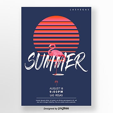 Red Sunset Flamingo Summer Poster Template