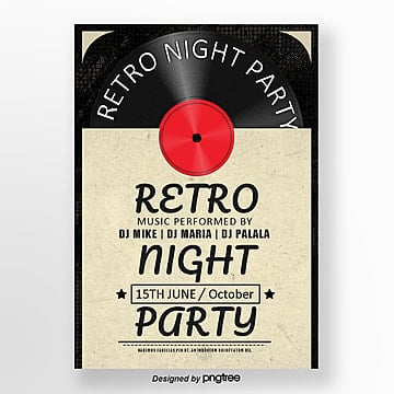 Retro Black-and-White Film Concert Poster, Record, Vintage, Retro Disc PNG and PSD