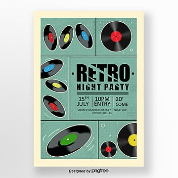 Retro Black and White Music Festival Poster, Record, Vintage, Retro Disc PNG and PSD