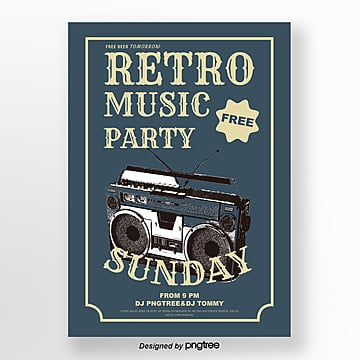 Retro Blue Radio Music Party Poster, Vintage, Hand Painted, Illustration PNG and Vector