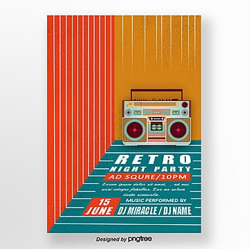 Retro Radio Music Record Poster, Vintage, Retro Music, Retro Style PNG and PSD