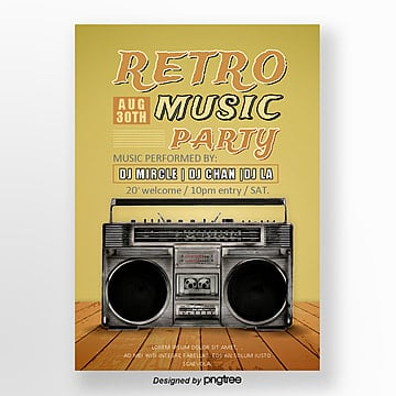 Retro Record Radio Concert Poster, Record, Vintage, Retro Music PNG and PSD