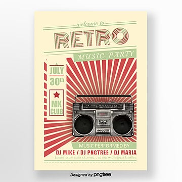 Retro tape Radio Rock Music Posters Template