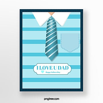 simple blue happy fathers day card Template
