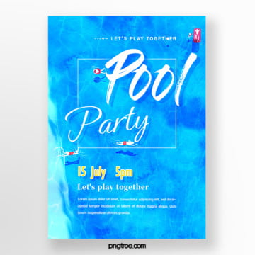 Summer Blue Ink Pool Party Poster, People, Watercolor, Swimming PNG and PSD