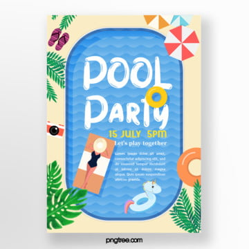 Summer cartoon blue pool party Poster, Flip Flops, Leaf, Sun Umbrella PNG and PSD