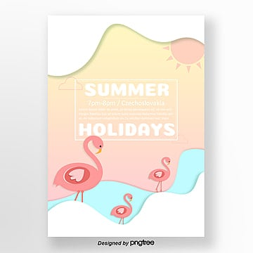 summer cool flamingo theme party posters Template
