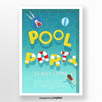 summer cool pool party posters Template