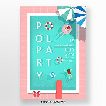 summer cool swimming pool party posters Template