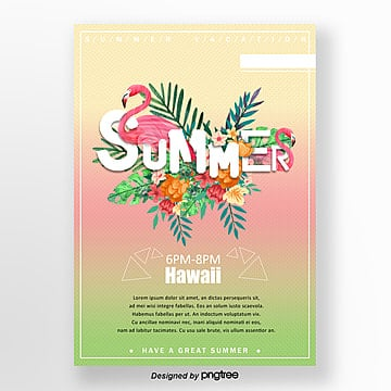 summer fantasy text flamingo theme party poster Template