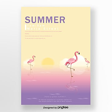 Summer Flamingo Background Theme Party Poster Template