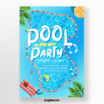 Summer fresh irregular blue pool party posters, Irregularity, Umbrella, Lovely PNG and PSD