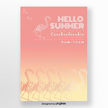 summer geometric flamingo creative theme party poster Template