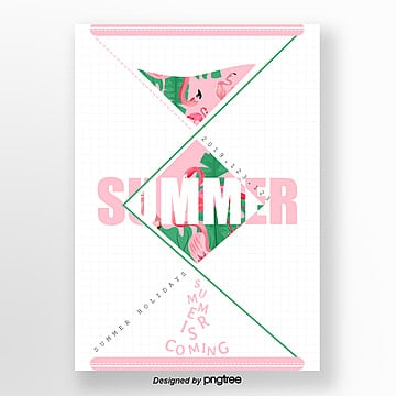 summer geometric hourglass flamingo theme poster Template