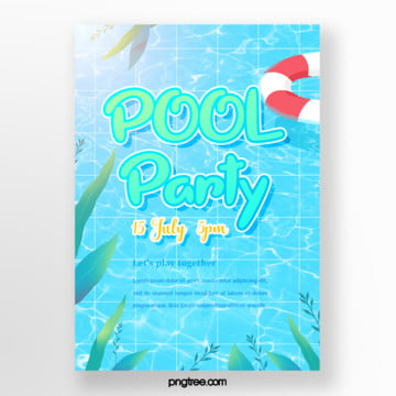 Summer hand-painted fresh blue swimming pool party posters, Leaf, Hand Painted, Life Buoy PNG and PSD