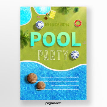 Summer lawn pool party posters, Umbrella, Leaf, Life Buoy PNG and PSD