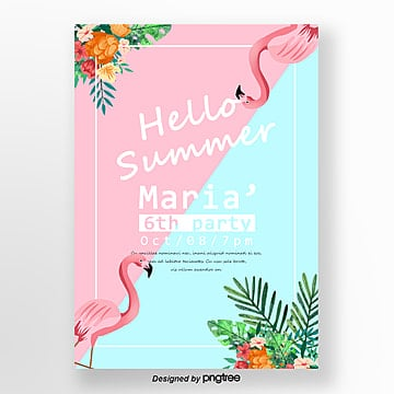 Summer Makaron Flamingo Theme Party Poster Template