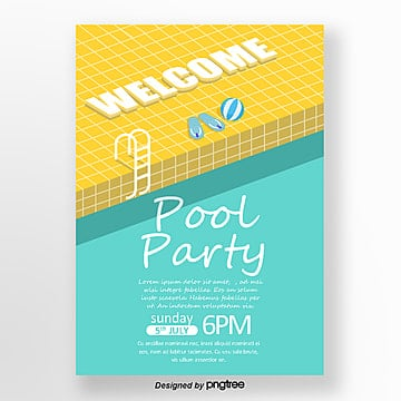 Summer Makaron Pool Party Poster, Summer, Swimming Pool, Pool Party PNG and PSD
