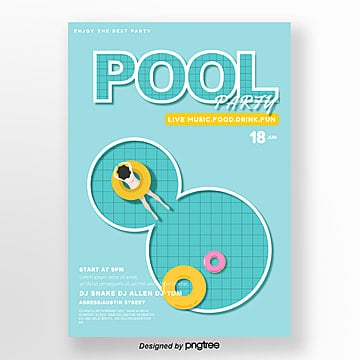 Summer party poster for blue and fresh swimming pool, Summer, Girl, Surface Of The Water PNG and Vector