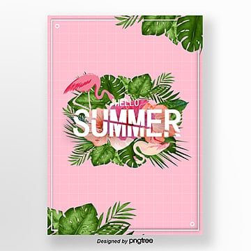 summer pink flamingo theme poster Template
