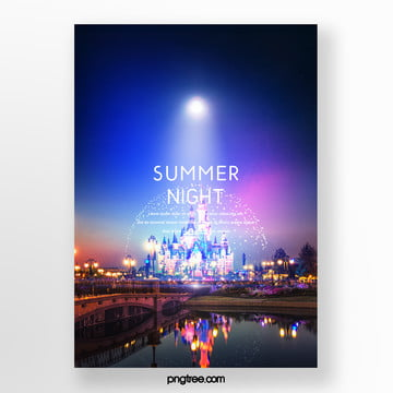 summer simple fresh gradual beach poster Template