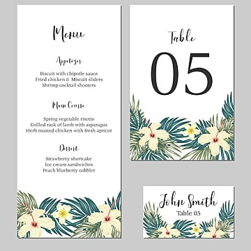 tropical wedding stationary with hibiscus and plumeria flower Template
