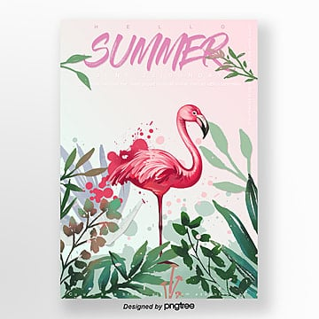 Watercolor ink splashing illustration Flamingo summer Poster Template