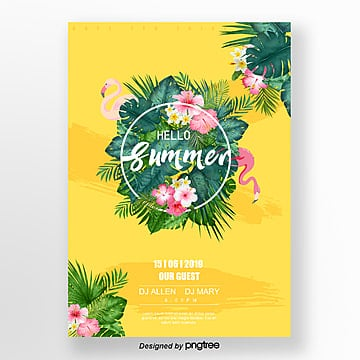 yellow tropical plant flamingo creative poster Template